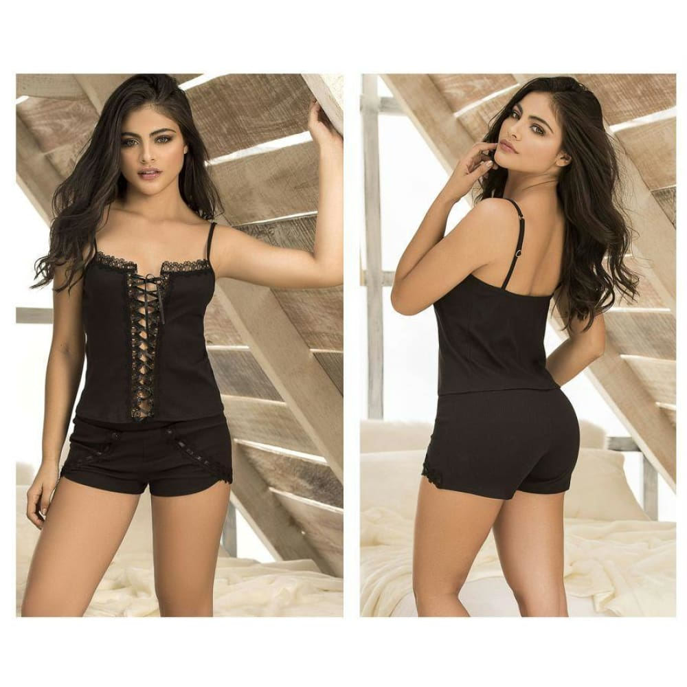 Two Piece Top and Short Sleepwear Set - Black / S - Lingerie