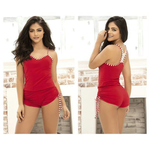 Two Piece Top and Short Sleepwear Set - Red / S - Lingerie