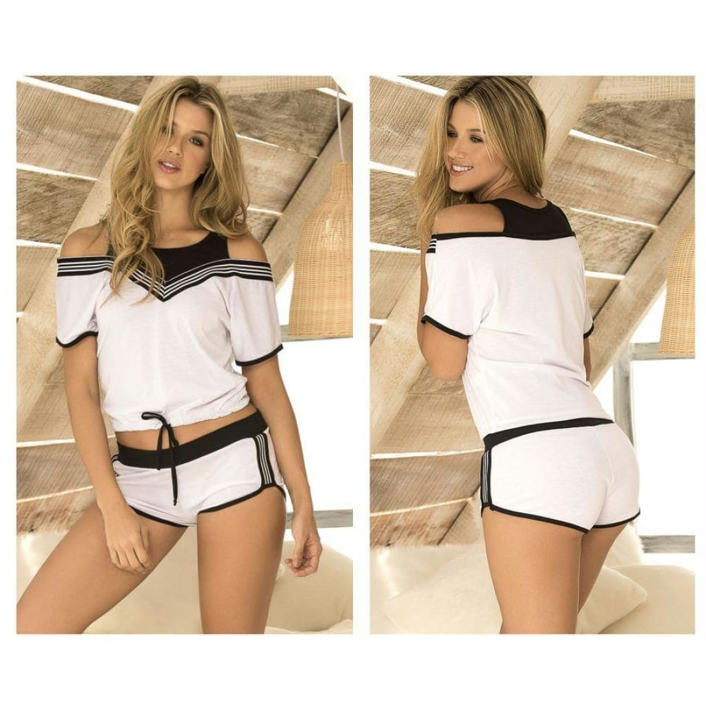Two Piece Top and Short Sleepwear Set - White-Black / S - Lingerie