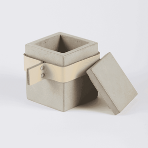 Boxy Concrete Pot -Small with Lid