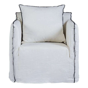 Cover Only - Bronte Armchair - White with Black Stitching