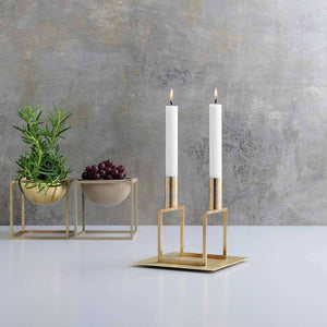 Kubus 2 Line Candle Holder - Brass