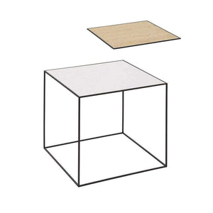 By Lassen Black Twin Side Table - Oak/White