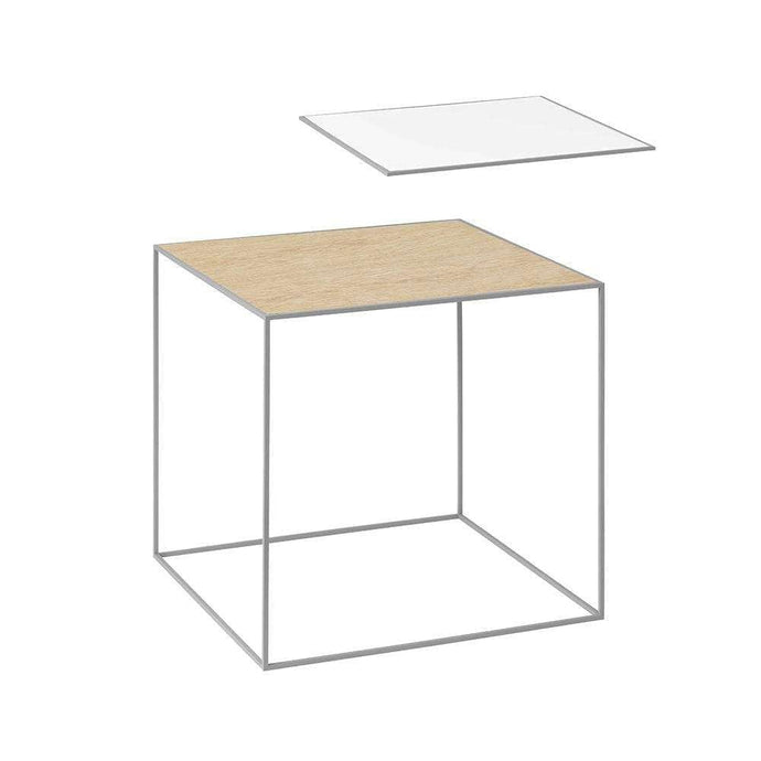 By Lassen Grey Twin 42 Side Table - Oak/White