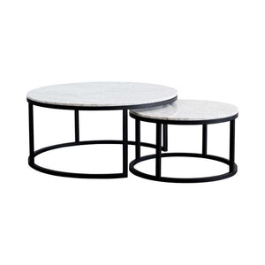 London Nesting Coffee Table Set - Carrara Marble/Black Frame