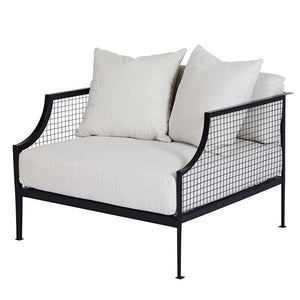 Rex Black Armchair - Winter White