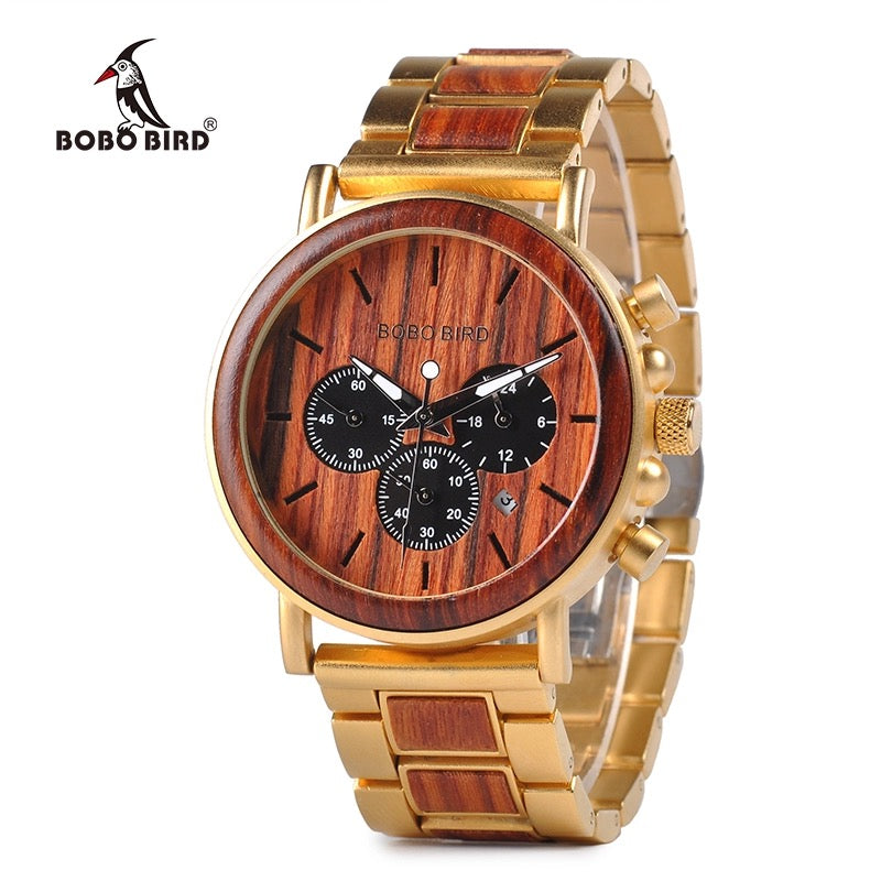 Bobo Bird Mens Wooden Stainless Steel Watch