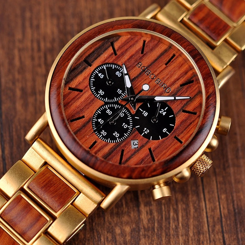 Wooden watch face splashproof