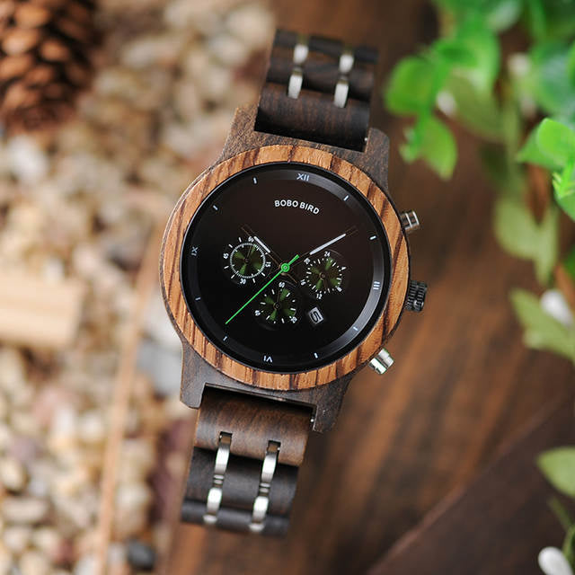 Mens chronograph wooden watch