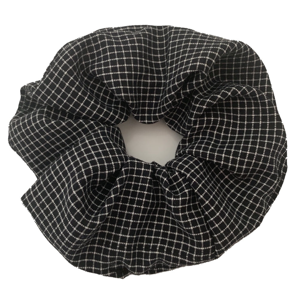 Large black and white scrunchie