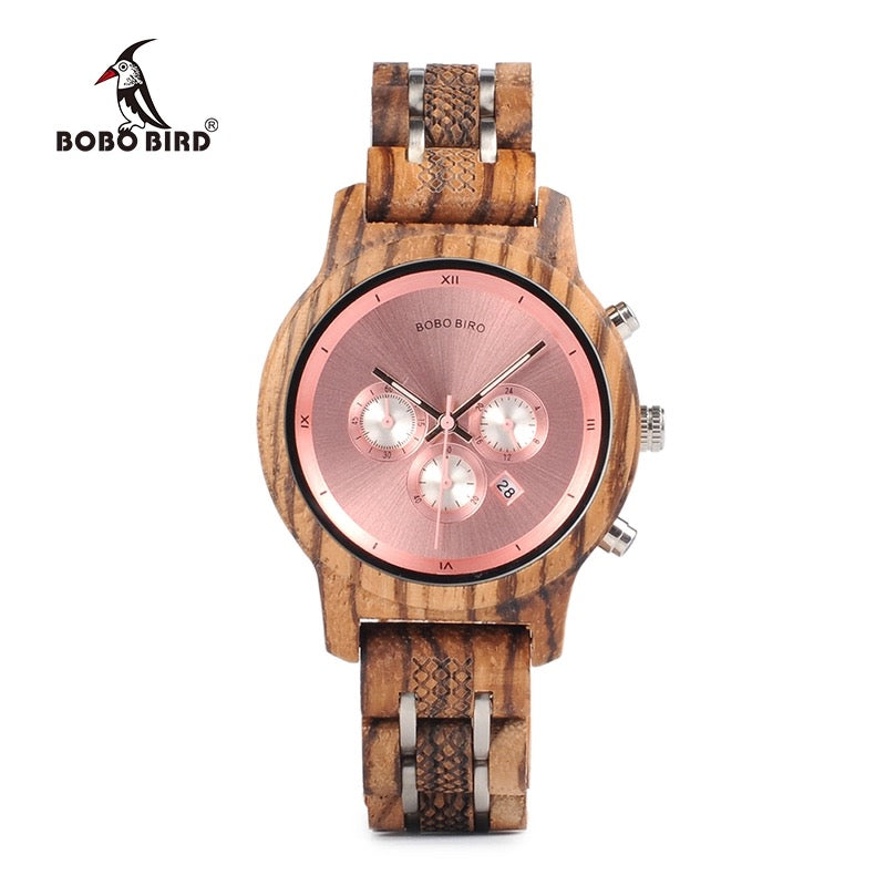 Bobo Bird Pink Wooden Watch