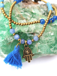 Hamsa and Tassel Brass Bracelet