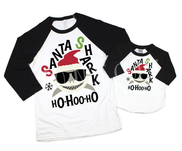 * Will not restock*Santa Shark Adult and Toddler Screen Print Transfer Low Heat