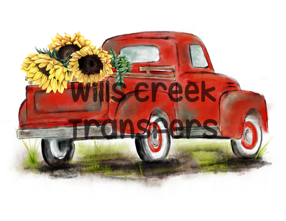 Sunflower Red Truck Sublimation Transfer