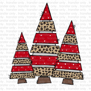 Cheetah Christmas Trees Sublimation Transfer