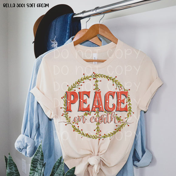 *Starting Ship Date 11/31* Peace on Earth Greenery Screen Print Transfer *High Heat*