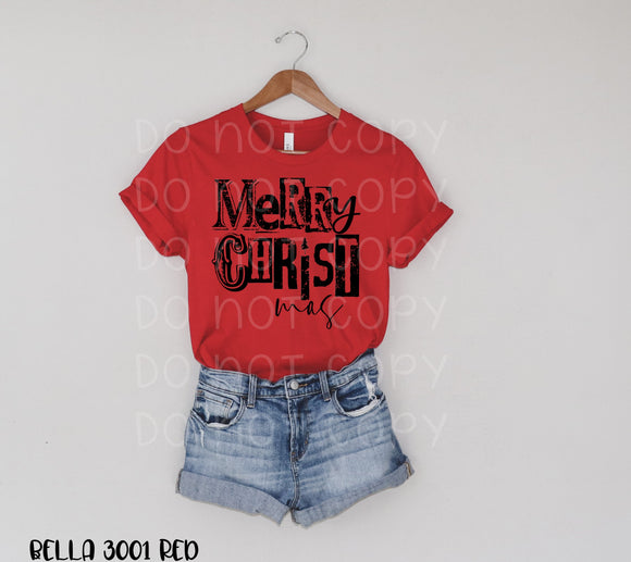 Merry Christmas Grunge Screen Print Transfer T96