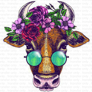 Floral Cow Sublimation Transfer