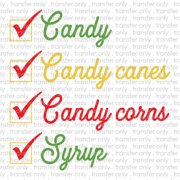 Candy Cane Candy Corn Syrup Sublimation Transfer
