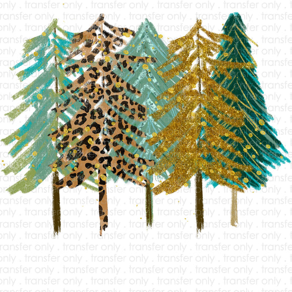 Gold Turquoise Glitter Trees Sublimation Transfer