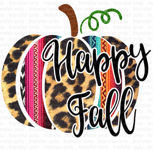Happy fall Serape Pumpkin Sublimation Transfer