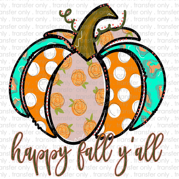 Happy Fall Yall Patchwork Pumpkin Sublimation Transfer