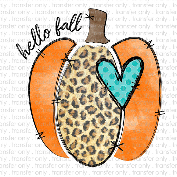 Hello Fall Cheetah Pumpkin Sublimation Transfer