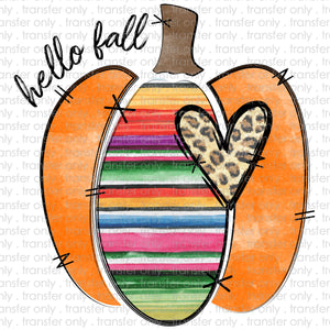 Hello Fall Serape Pumpkin Sublimation Transfer