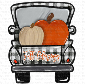 Fall Blessing Plaid Truck Sublimation Transfer