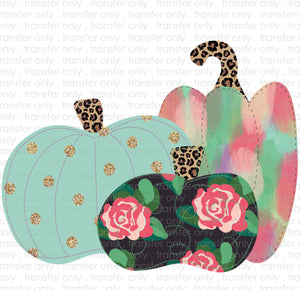 Glitter Floral Pumpkins Sublimation Transfer