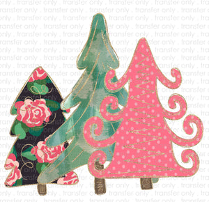 Girly Christmas Trees Sublimation Transfer