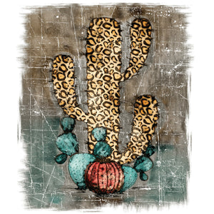 Leopard Cactus Distressed Sublimation Transfer