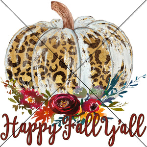 Happy Fall Yall Leopard Pumpkin Sublimation Transfer
