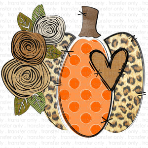 Leopard Orange Floral Pumpkin Sublimation Transfer