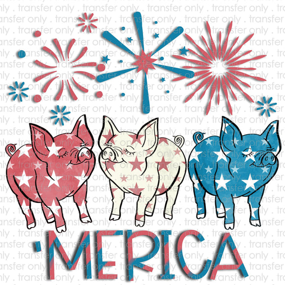 Merica Pigs Sublimation Transfer