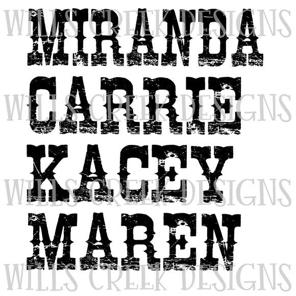 Miranda Carrie Kacey Maren Sublimation Transfer