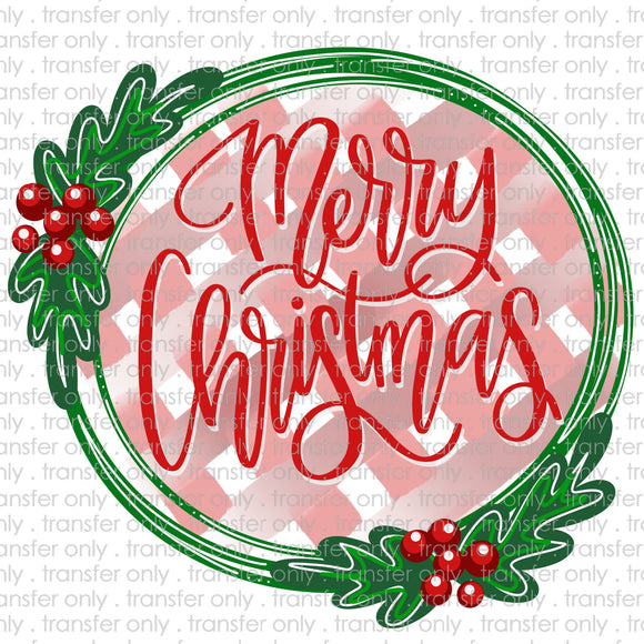 Merry Christmas PLaid Wreath Sublimation Transfer