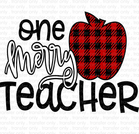 One Merry Teacher Sublimation Transfer