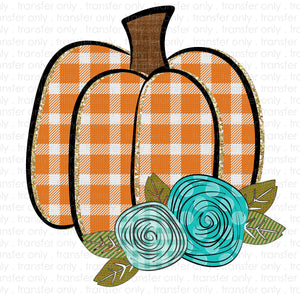 Orange Plaid Pumpkin Sublimation Transfer