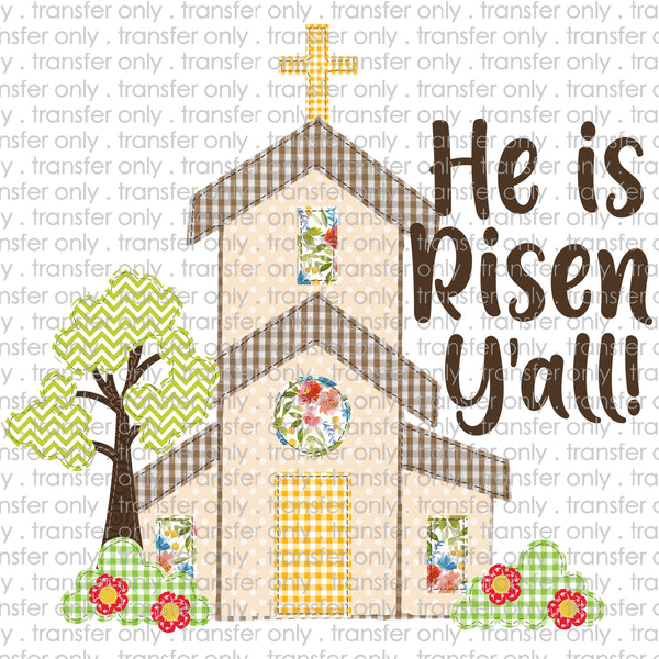 Patchwork Church He is Risen Sublimation Transfer
