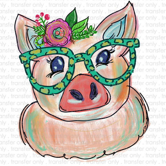 Piggy with Glasses Sublimation Transfer