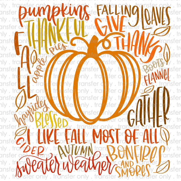 Pumpkin Typography Sublimation Transfer