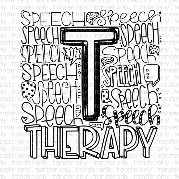 Speech Therapy Typography Sublimation Transfer