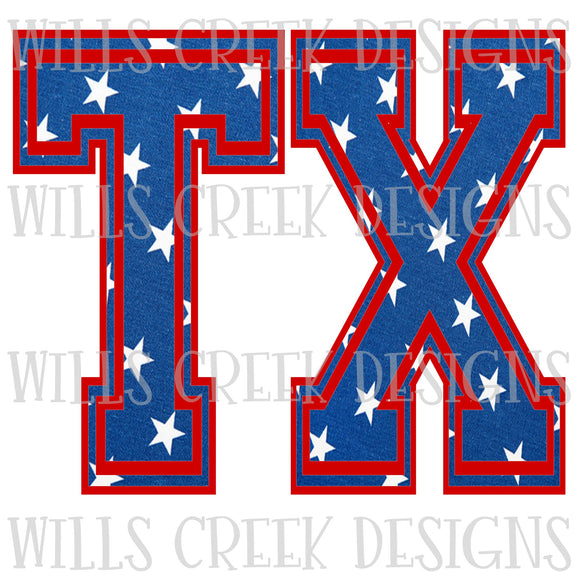 TX Red White and Blue Digital Download