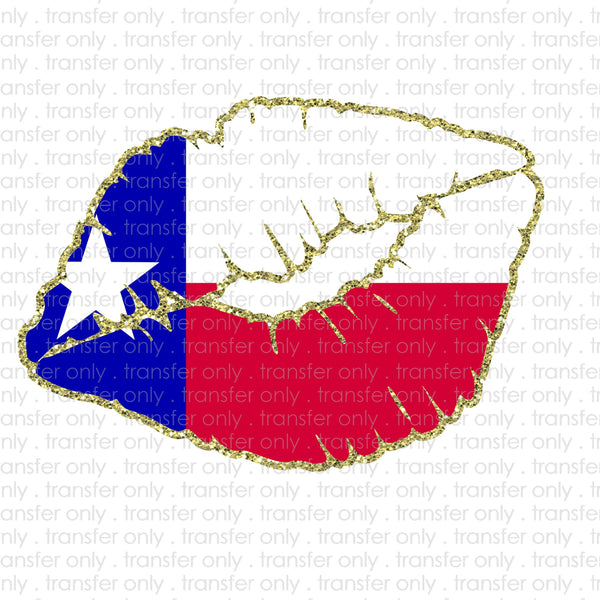 Texas Flag Lips Sublimation Transfer