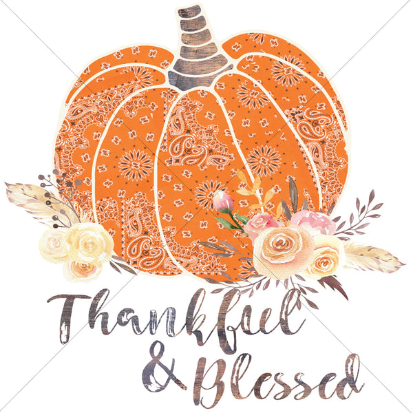 Thankful and Blessed Orange Pumpkin Sublimation Transfer