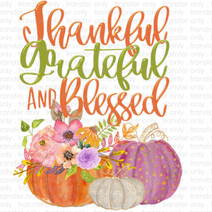 Thankful Grateful Blessed Pumpkin Sublimation Transfer