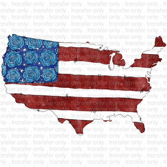 USA Flowers Sublimation Transfer