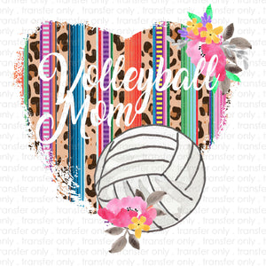 Volleyball Mom Heart Sublimation Transfer