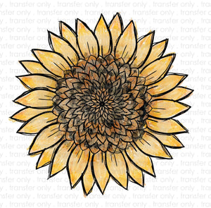 Watercolor Sunflower Heat Transfer Vinyl Transfer